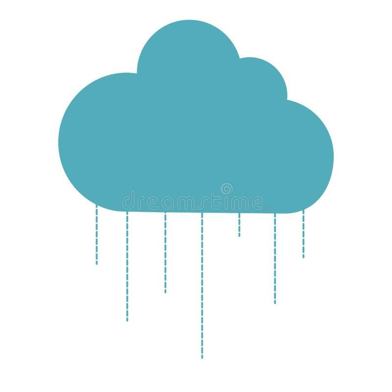 Ícone isolado silhueta da nuvem ilustração stock