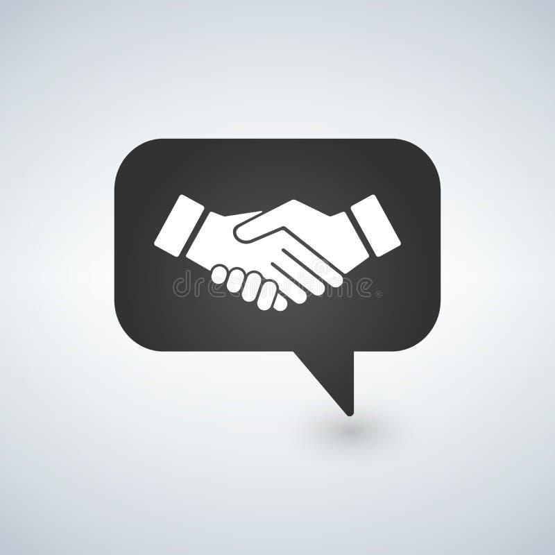 Ícone isolado simples do aperto de mão da bolha da reunião do homem de negócios Sinal do símbolo do acordo do negócio ilustração stock