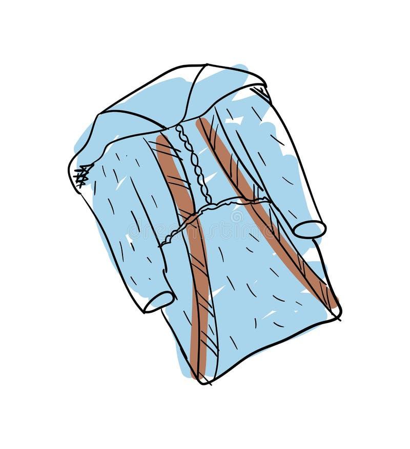 Ícone isolado tirado mão da roupa dos esquimós da nação ilustração do vetor