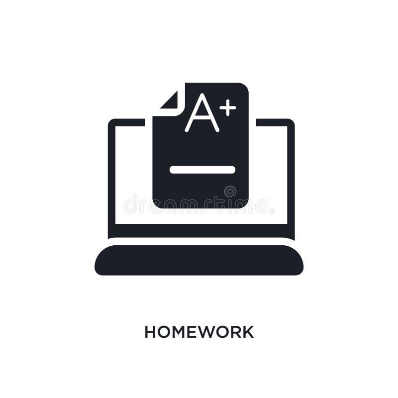 ícone isolado trabalhos de casa ilustração simples do elemento dos ícones do conceito do ensino eletrónico e da educação sinal ed ilustração royalty free