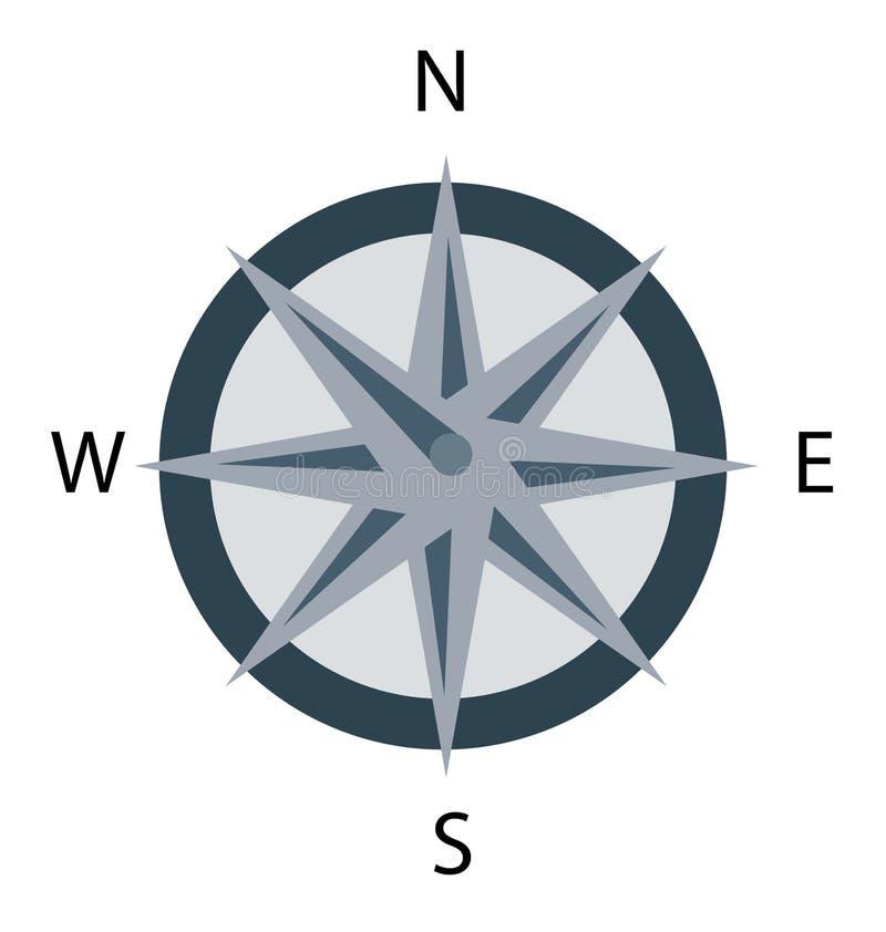 Ícone isolado vetor da cor do compasso editável ilustração royalty free