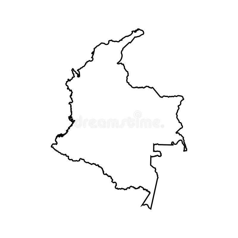 Ícone isolado vetor da ilustração com linha preta silhueta de mapa simplificado de Colômbia ilustração stock