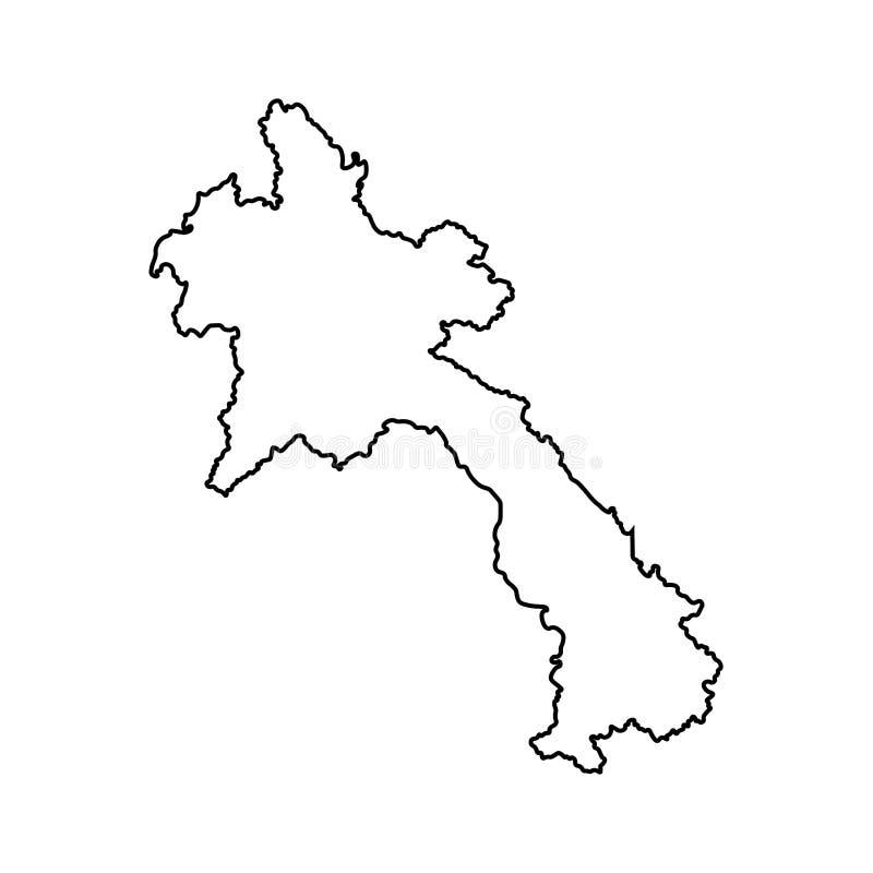 Ícone isolado vetor da ilustração com o mapa simplificado de Laos Lao People's Democratic Republic ilustração do vetor