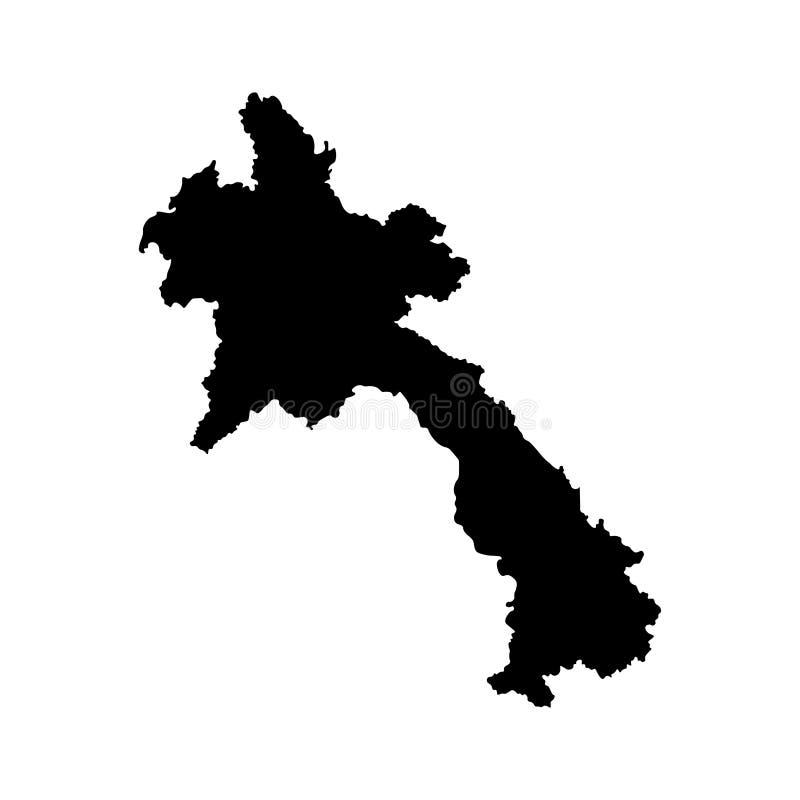 Ícone isolado vetor da ilustração com o mapa simplificado de Laos Lao People's Democratic Republic Silhueta preta ilustração stock