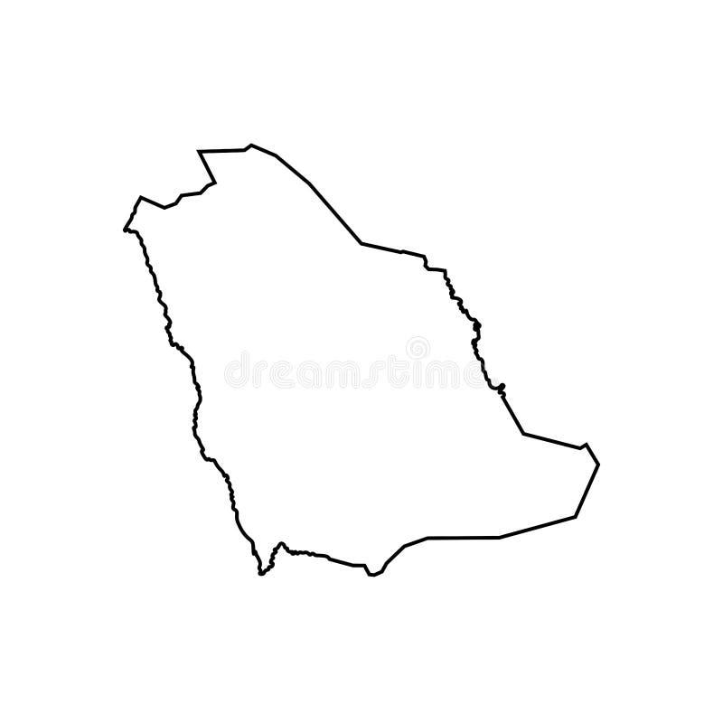 Ícone isolado vetor da ilustração com o mapa simplificado do reino de Arábia Saudita ilustração royalty free