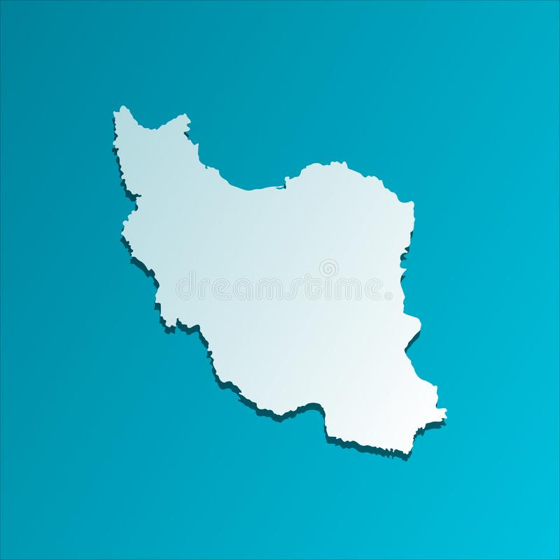Ícone isolado vetor da ilustração com o mapa simplificado da república islâmica de Irã Silhueta azul ilustração do vetor
