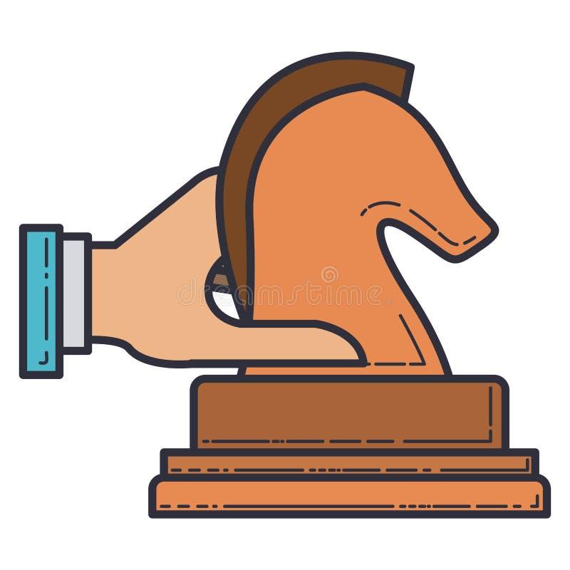 Ícone isolado xadrez do cavalo ilustração stock