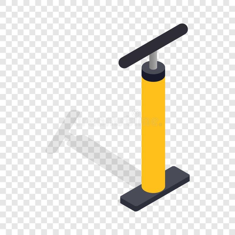 Ícone isométrico amarelo da bomba de bicicleta da mão ilustração stock