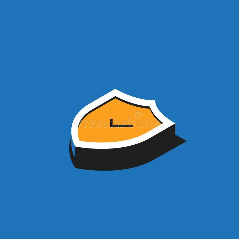 Ícone isométrico amarelo do protetor com marca de verificação no fundo azul Ilustração do vetor ilustração stock