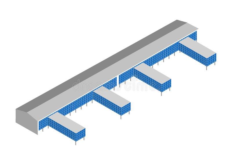 Ícone isométrico com construção do armazém do porto ilustração stock