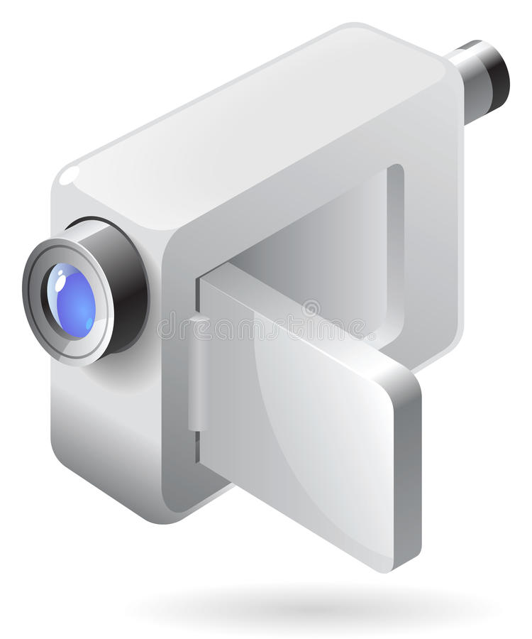 Ícone isométrico da câmara de vídeo ilustração do vetor