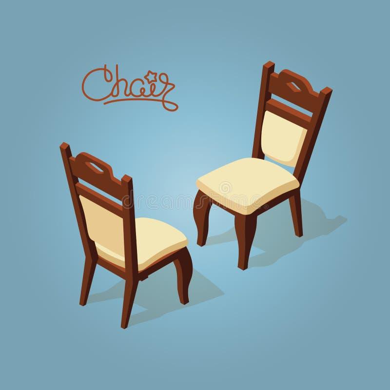 Ícone isométrico da cadeira dos desenhos animados isolado no azul ilustração royalty free