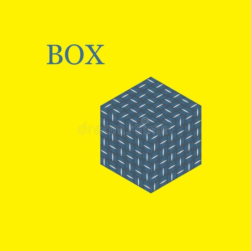 Ícone isométrico da caixa atual azul com fundo amarelo ilustração isolada do vetor ilustração stock