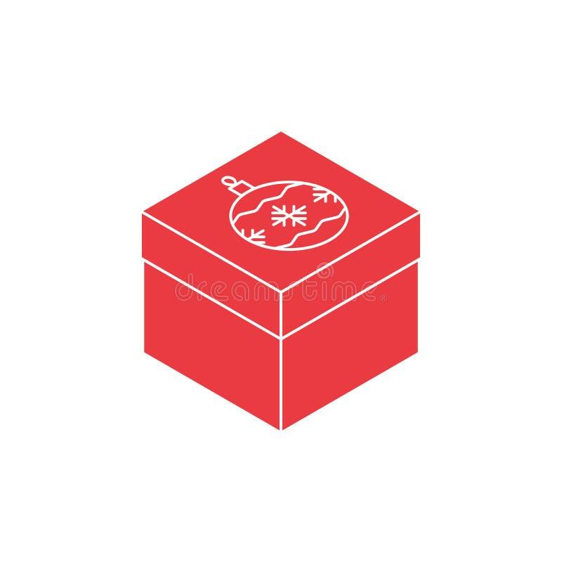 Ícone isométrico da caixa de presente do Natal ilustração stock