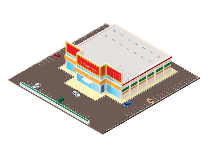 Ícone isométrico da construção do shopping ou do supermercado ilustração stock