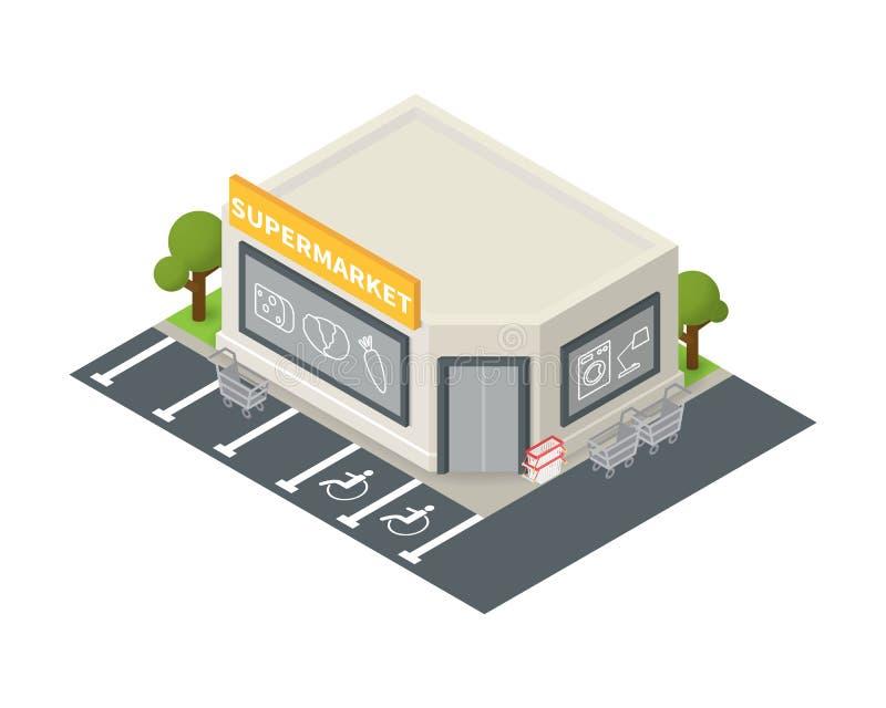 Ícone isométrico da construção do supermercado do vetor ilustração do vetor