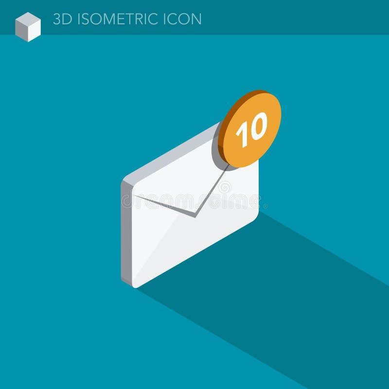 Ícone isométrico da Web do email 3D ilustração do vetor