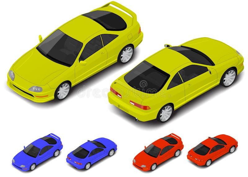 Ícone isométrico do carro desportivo do cupê do vetor Transporte para o infographics ou seu mundo isométrico ilustração stock