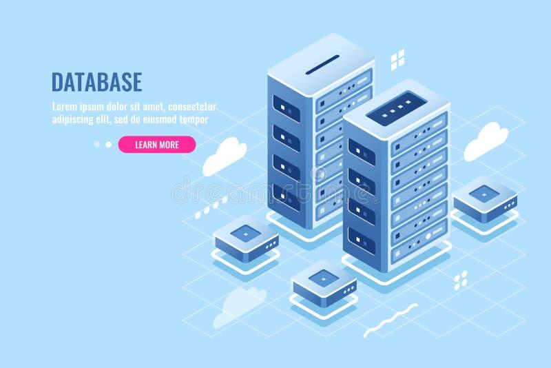 Ícone isométrico do centro da sala do servidor, do acolhimento do site, do armazenamento da nuvem, do banco de dados e de dados,  ilustração royalty free
