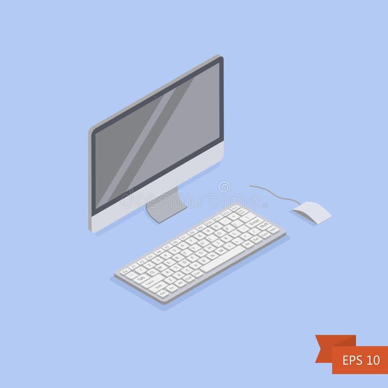 Ícone isométrico do computador Vetor Monitor branco isométrico do PC com botão e rato do teclado ilustração stock