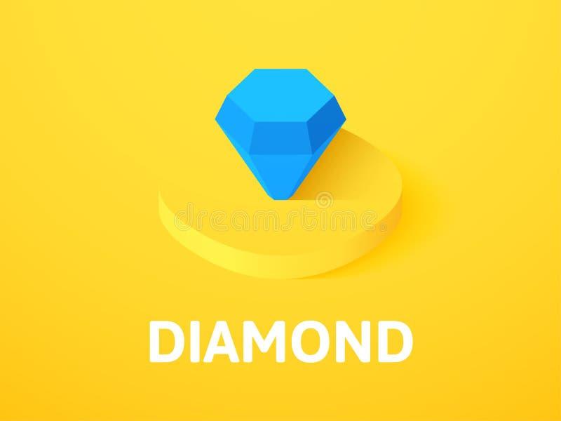 Ícone isométrico do diamante, isolado no fundo da cor ilustração stock