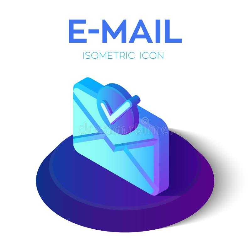 Ícone isométrico do e-mail com símbolo aceitado ícone isométrico do e-mail 3D com sinal aprovado ?cone do tiquetaque S?mbolo de v ilustração do vetor