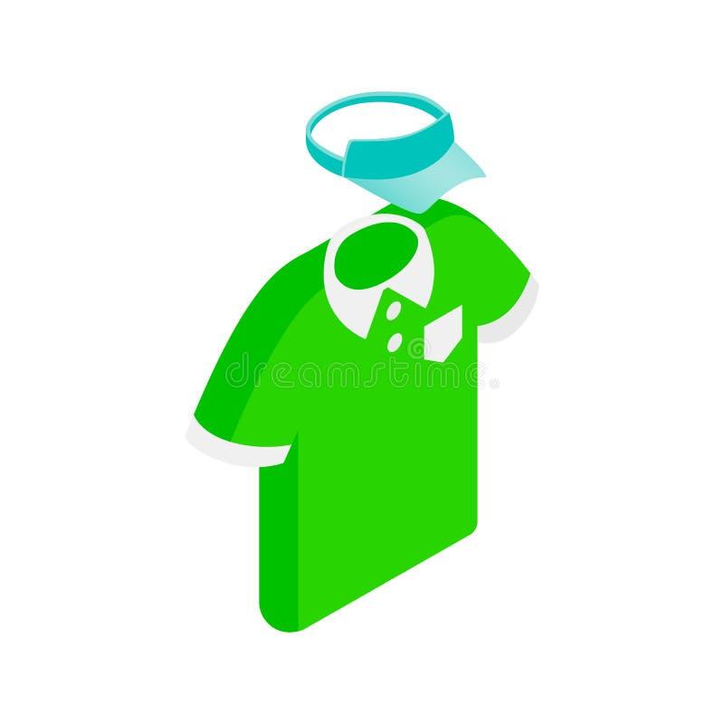 Ícone isométrico do polo do homem verde e do tampão azul ilustração stock