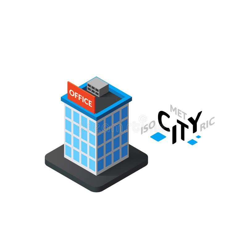 Ícone isométrico do prédio de escritórios, elemento infographic de construção da cidade, ilustração do vetor ilustração do vetor