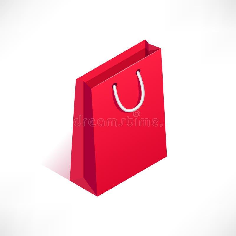 Ícone isométrico do saco de compras ilustração royalty free