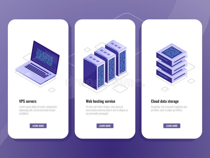 Ícone isométrico do serviço do alojamento web, sala do servidor dos vps, armazenamento da nuvem do armazém de dados, portátil com ilustração royalty free