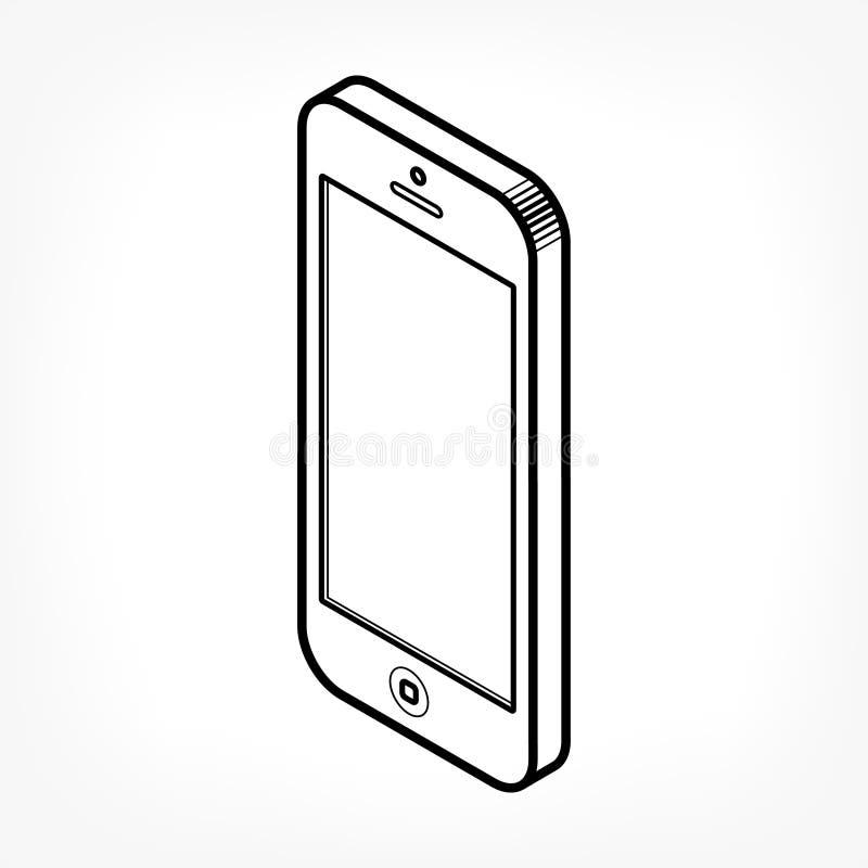 Ícone isométrico do telefone ilustração royalty free