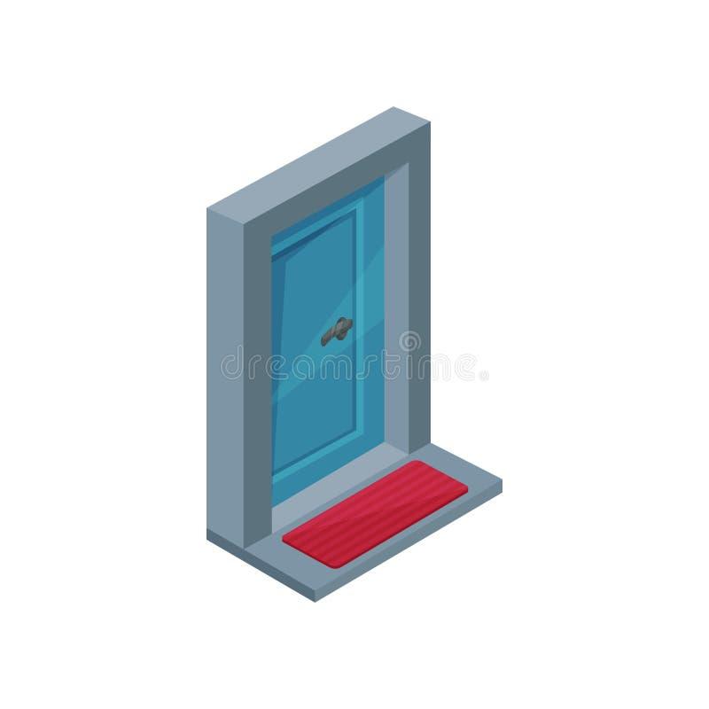 Ícone isométrico do vetor da porta de entrada de madeira azul com punho do metal Capacho vermelho pequeno na entrada ilustração royalty free