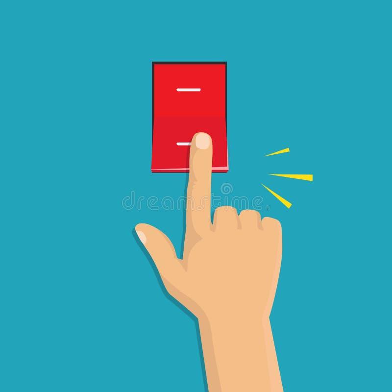 Ícone isométrico Mão que gira sobre o interruptor da luz Interruptor de alavanca ilustração do vetor