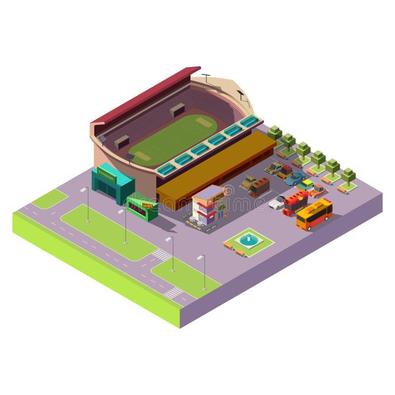 Ícone isométrico público do vetor do estádio 3d da cidade ilustração stock