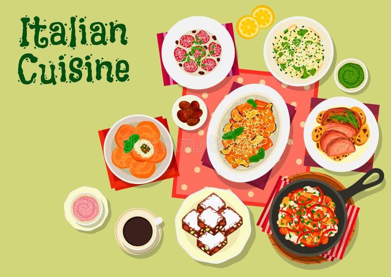 Ícone italiano do menu do almoço da culinária para o projeto do alimento ilustração do vetor