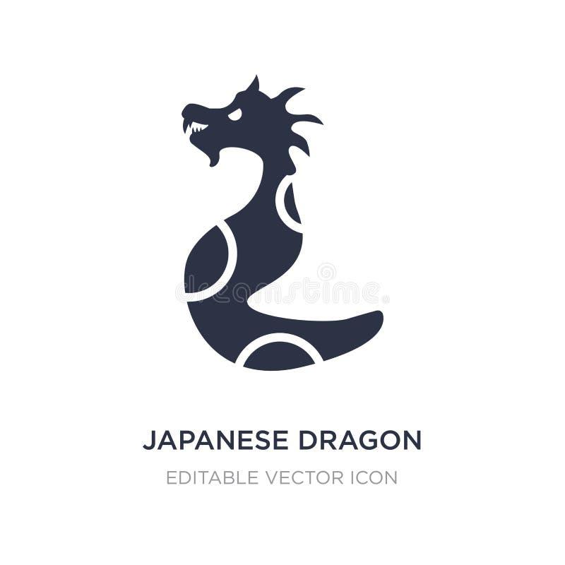 ícone japonês do dragão no fundo branco Ilustração simples do elemento do conceito dos animais ilustração stock