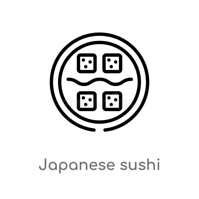 ícone japonês do vetor do sushi do esboço linha simples preta isolada ilustração do elemento do conceito do alimento Curso editáv ilustração do vetor