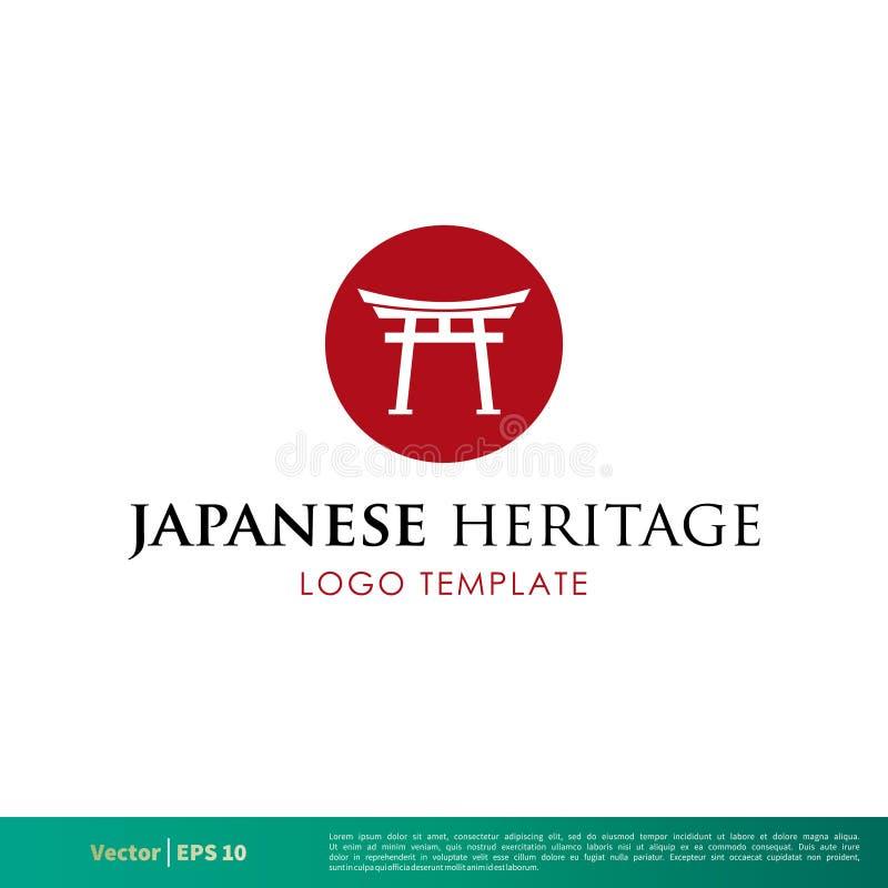 Ícone japonês Logo Template Illustration Design do vetor da porta de Torii Vetor EPS 10 ilustração do vetor