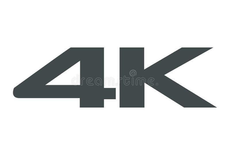 ícone 4K no fundo branco ilustração stock