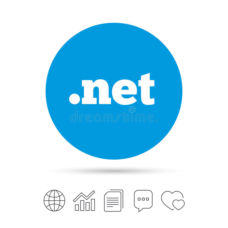 Ícone LÍQUIDO do sinal do domínio Domínio nível mais alto do Internet ilustração royalty free