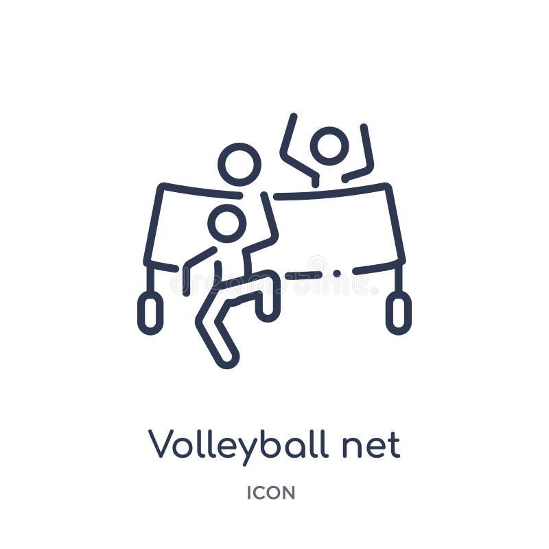 Ícone líquido do voleibol linear da coleção da atividade e do esboço dos passatempos Linha fina vetor da rede do voleibol isolado ilustração do vetor
