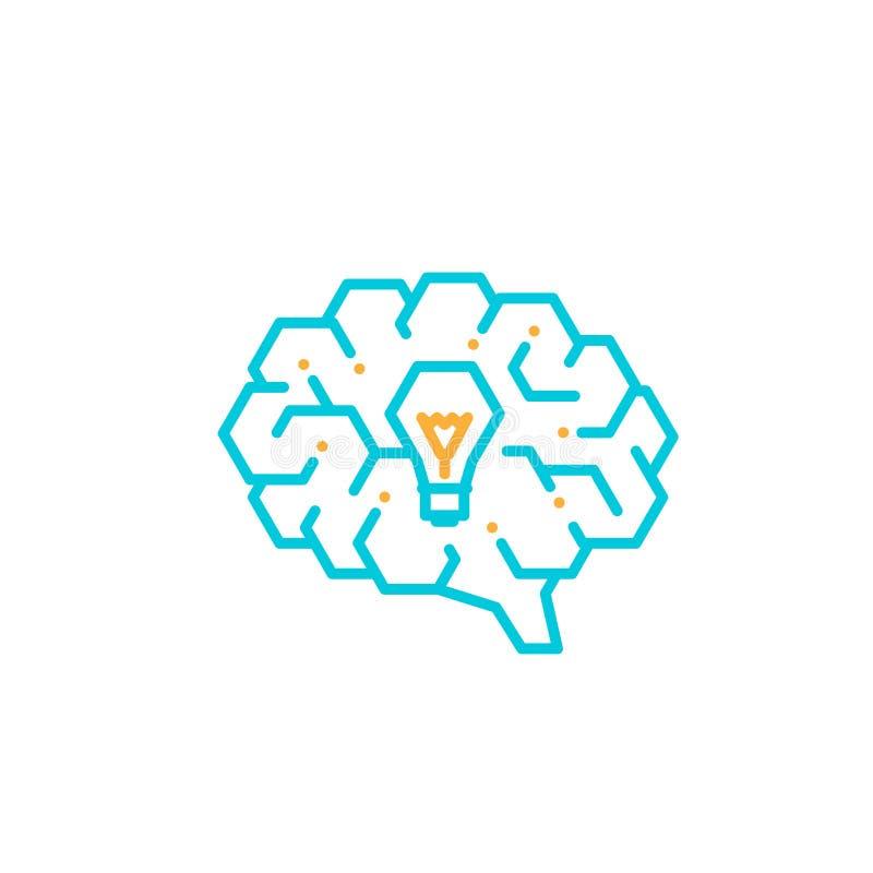 Ícone lateral do logotipo do cérebro com símbolo incandescente da ampola, o azul editável da ilustração do projeto do curso do co ilustração do vetor