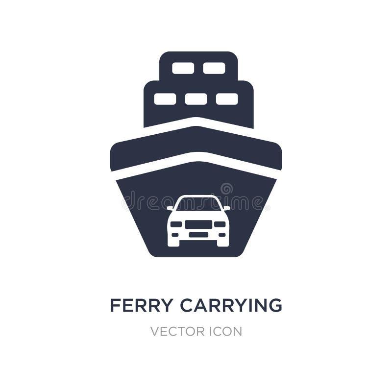 ícone levando dos carros da balsa no fundo branco Ilustração simples do elemento do conceito do transporte ilustração stock