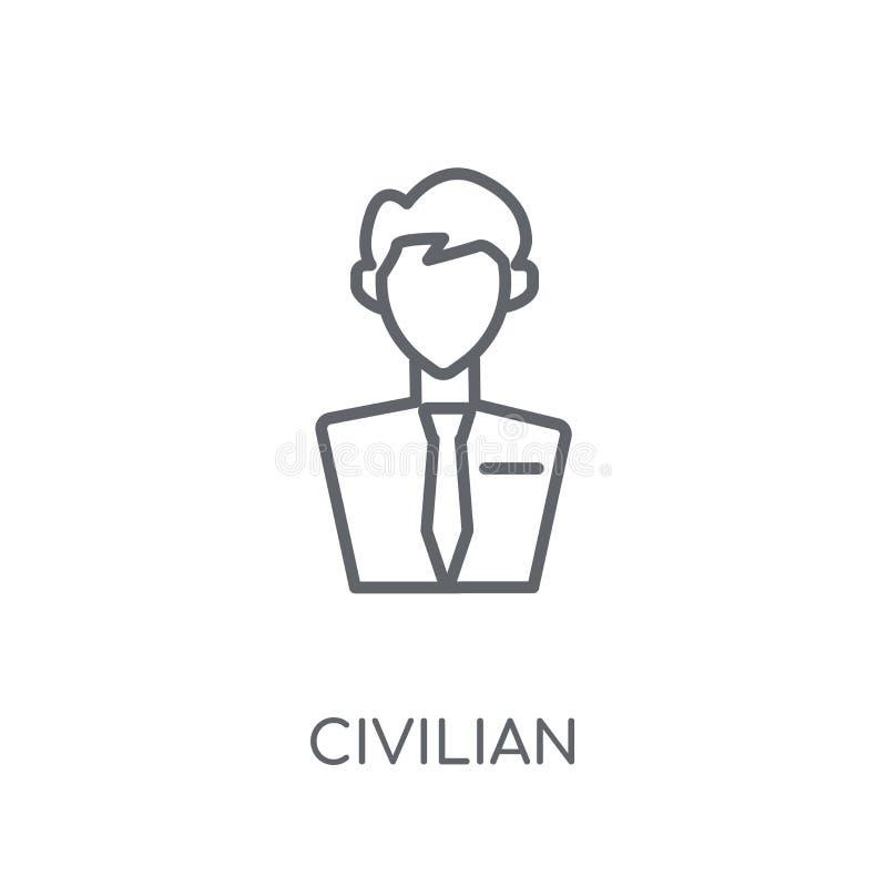 ícone linear civil Conceito civil do logotipo do esboço moderno no wh ilustração do vetor