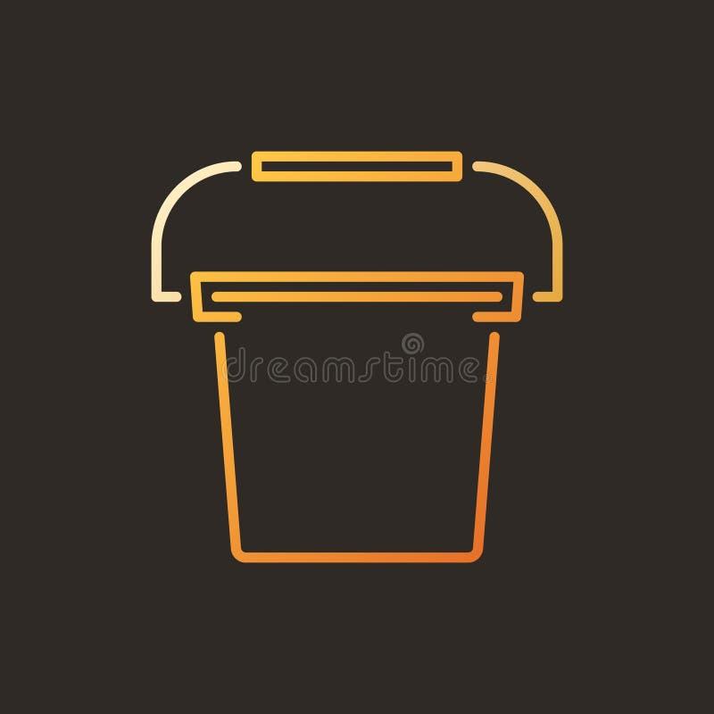 Ícone linear colorido da cubeta vetor plástico no fundo escuro ilustração stock