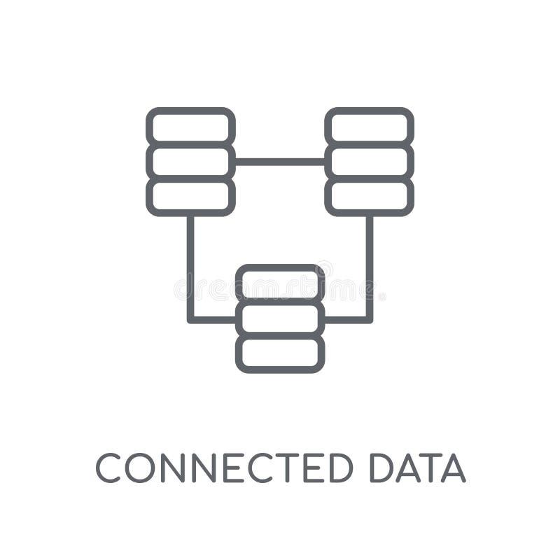 Ícone linear conectado dos dados Esboço moderno logotipo conectado c dos dados ilustração do vetor