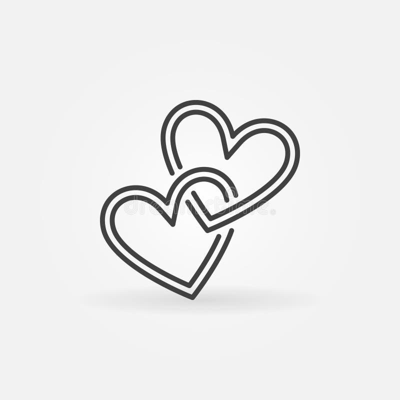 Ícone linear cruzado do vetor de dois corações Símbolo do conceito do amor ilustração do vetor