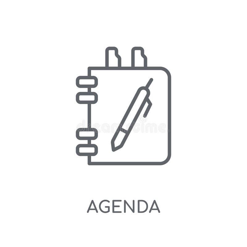 Ícone linear da agenda Conceito moderno do logotipo da agenda de esboço no branco ilustração do vetor