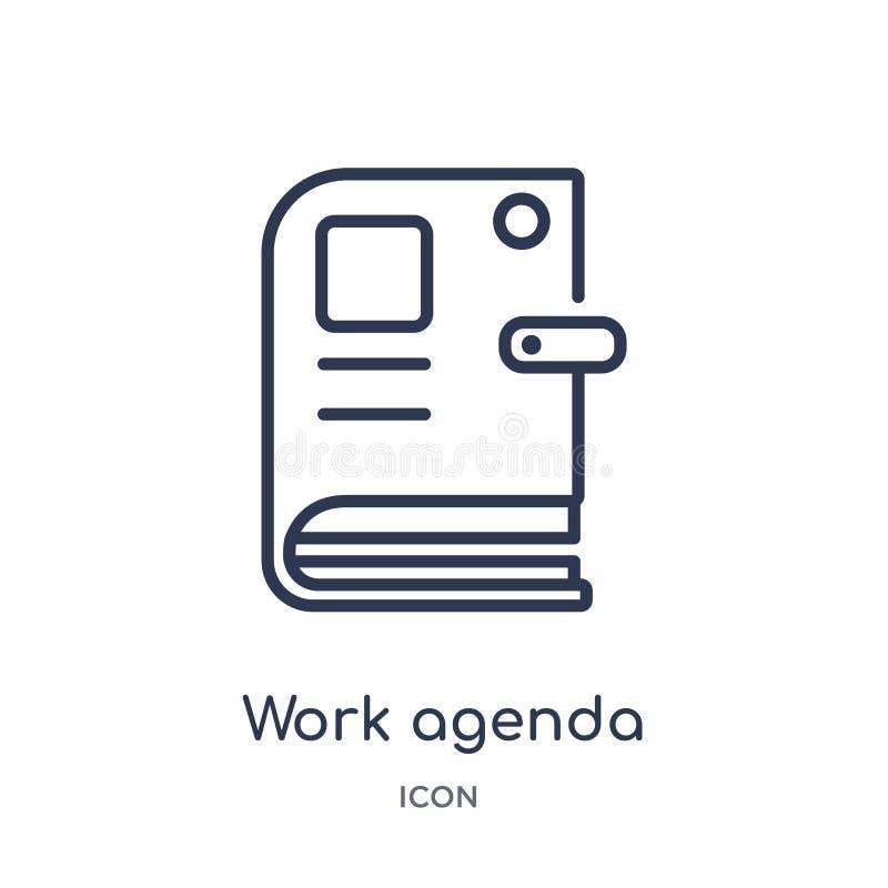 Ícone linear da agenda do trabalho da coleção do esboço geral Linha fina ícone da agenda do trabalho isolado no fundo branco agen ilustração stock
