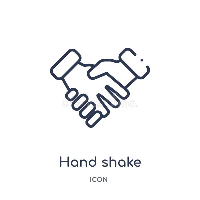 Ícone linear da agitação da mão da coleção do esboço do serviço ao cliente Linha fina vetor da agitação da mão isolado no fundo b ilustração stock